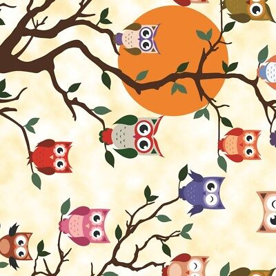 Pvc Table Cloth Tewoo Owls On Tree Branch Sun Hoot Orange Red Green Wipe Able • 10.99£
