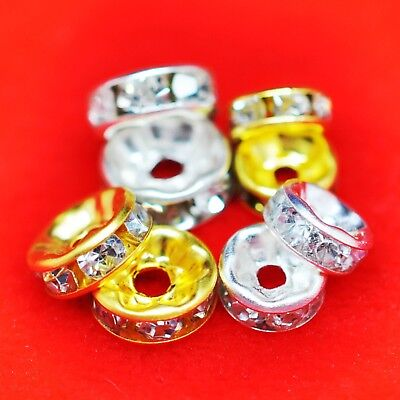 100 × Rhinestone Rondellle Spacer Beads Premium Quality Choose From 6mm And 8mm • 3.19£