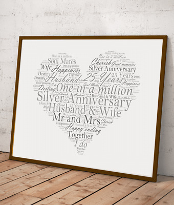 £9.95 • Buy Personalised Silver Wedding 25th Anniversary Word Art Gift - Add Your Own Words