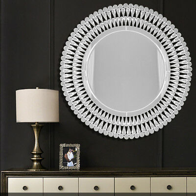 £59.95 • Buy Large Venetian Crystal Round Glass Beveled Wall Mirror Silver Frame Mural Decor