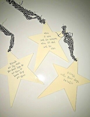East Of India Shabby Chic Wooden Star Friend Friendship Birthday Christmas Gift  • 3.49£