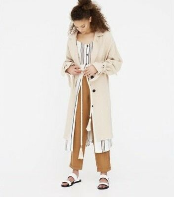 AU57.27 • Buy Pull And Bear Flowing Linen Trench Coat Light Weight Jacket Sz L Color Khaki NWT