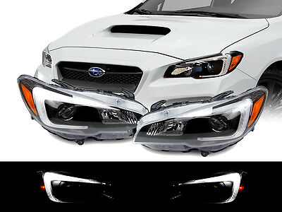 $349.95 • Buy STi Style LED White Bar Black Housing Projector Headlight For 15-19 Subaru WRX