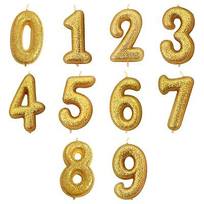 Gold Glitter  Age Number Candles Happy Birthday Cake Topper 0-9 Celebration • 2.75£