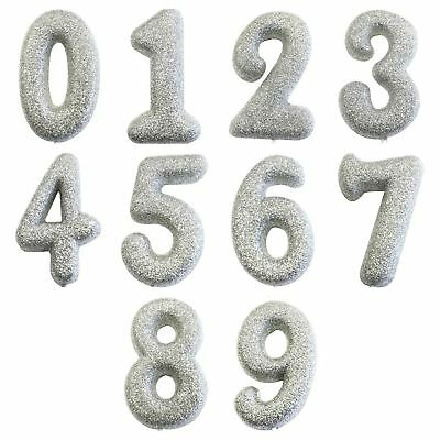 Sliver Glitter  Age Number Candles Happy Birthday Cake Topper 0-9 Celebration • 2.75£