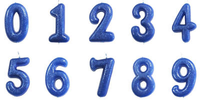 Blue Glitter  Age Number Candles Happy Birthday Cake Topper 0-9 Celebration • 2.75£