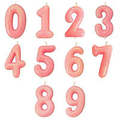 Pink Glitter  Age Number Candles Happy Birthday Cake Topper 0-9 Celebration • 2.75£