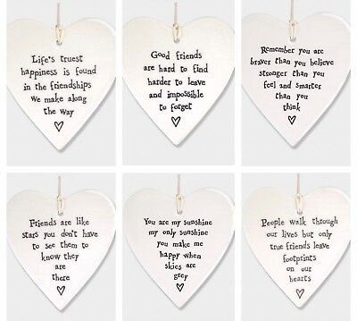 East Of India Porcelain Round Heart Plaque Sentiment Friendship Shabby Chic Gift • 5.49£