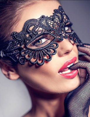 LACE Masquerade Eye Mask Ladies BLACK Gothic Fancy Dress Hen Party Halloween New • 2.46£