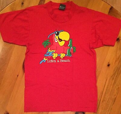$ CDN19.99 • Buy Vtg Vintage 80s Life's A Beach 50/50 Parrot Drinking A Beer T Shirt 1987 Small