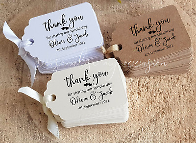 Wedding Favour Tags, Personalised, Small Thank You For Sharing Special Day SLTY8 • 1£
