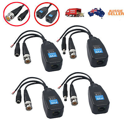 AU20.99 • Buy 4X CCTV Coax BNC Video Power Balun Transceiver To CAT5e 6 RJ45 Connector For PTZ
