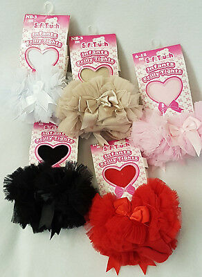Frilly Tights TuTu Bow Baby Girls Tights Ruffles Bows Red Black White Pink Tan  • 7.95£