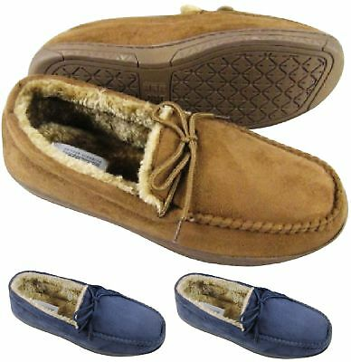 Mens Bedtime Bed Slippers Moccasin Faux Fur Sheepskin Comfort Soft Shoes Sz 7-12 • 12.95£