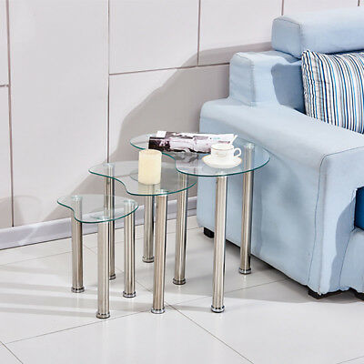 Nest Of 3 Side Table End Table Glass Metal Legs Nesting Tables Living Room Heart • 40.99£