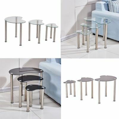 Nest Of 3 Side Table End Table Glass Metal Legs Black Clear Living Roon Home New • 35.99£