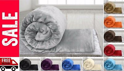 Faux Fur Fleece Throw Soft Warm Mink Large Sofa Bed Blanket Double King Sizes... • 11.49£