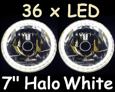 AU134.50 • Buy Ford F100 F150 F250 F350 Bronco Pick Up White LED Halo 7  JTX Round Headlights
