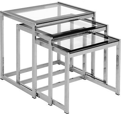 Hanley Nest Of Tables In Clear Glass With Black Border And Chrome • 86.53£