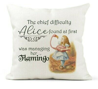 Alice In Wonderland Quote Cushion, Vintage,Flamingo, Daughter, Friend Gift • 11.99£
