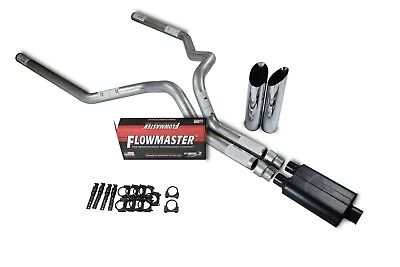 $341.76 • Buy Chevy GMC 1500 Truck 99-06 3  Dual Exhaust Kits Flowmaster Super 44 Slash Tip