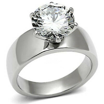 $9.50 • Buy 3.87 CT 10mm CZ Stainless Steel Ring Round Solitaire Engagement AAA Grade Clear