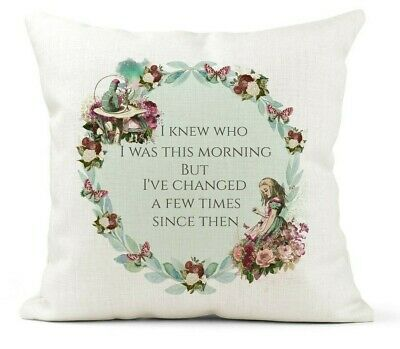 £12.99 • Buy Cream Cushion, Alice In Wonderland, Inspirational Quote, Knew Who I Was.. Gift