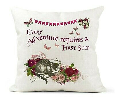 Alice In Wonderland Cushion Inspirational Quote, Cheshire Cat Adventure/1st Step • 11.99£