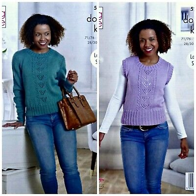 KNITTING PATTERN Ladies Lace Panel Jumper And Slipover DK King Cole 5227 • 3.95£