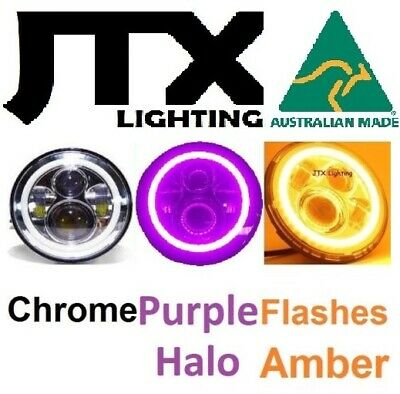 AU375 • Buy JTX 1pr 7  CHROME LED Headlights PURPLE Ford Bronco F100 F150 F250 F350 Pick Up
