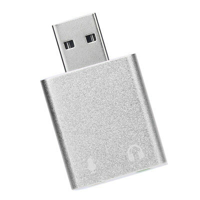 USB External Virtual 7.1 Channel Surround Sound Card Audio Adapter Silver • 4.72£