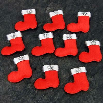 Santa Sock Boot For Cards & Decorations, Ideal For Kids Craft, Xmas, Pk Of 10 • 1.99£