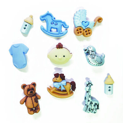 £3.99 • Buy Childrens Buttons - Baby Boy - BLUE - Novelty Buttons Cake Decorations