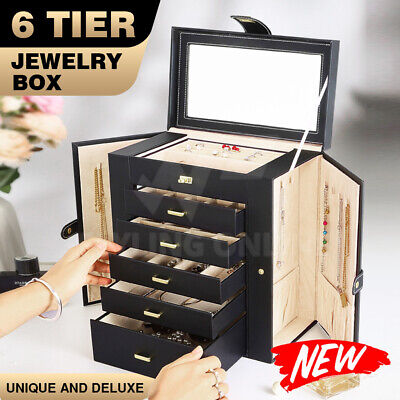 AU75.94 • Buy Mirror Extra Large Jewellery Box PU Leather Necklaces Earing Storage Cases