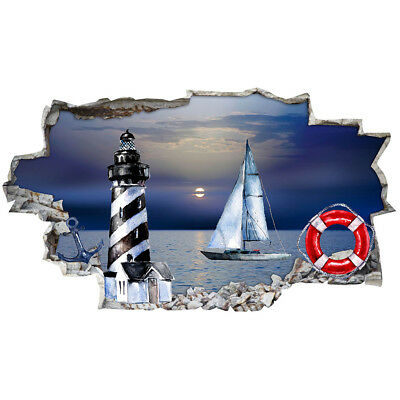 J302 Nautical Boat Lighthouse Hall Wall Stickers Bedroom Girls Boys Living Room • 12.49£