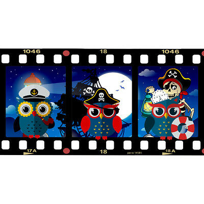 J266 Pirate Owls Nautical Kids Boys Wall Stickers Bedroom Girls Boys Living Room • 44.49£