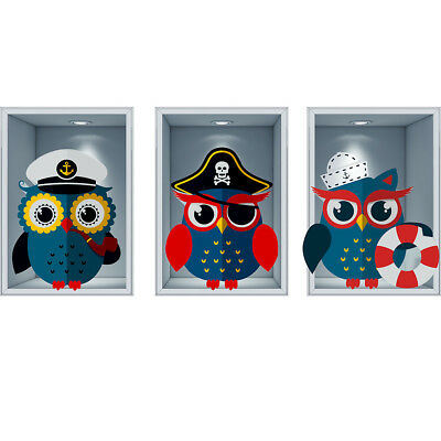 J267 Pirate Owls Nautical Kids Boys Wall Stickers Bedroom Girls Boys Living Room • 44.49£