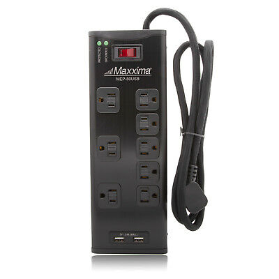 $17.99 • Buy Maxxima 8 Outlet Power Strip 2 USB Charging Ports 3.4A 1050 Joules Surge - Black