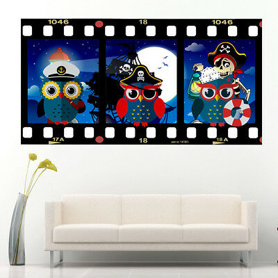 J266 Pirate Owls Nautical Kids Boys Wall Stickers Bedroom Girls Boys Living Kids • 10.49£