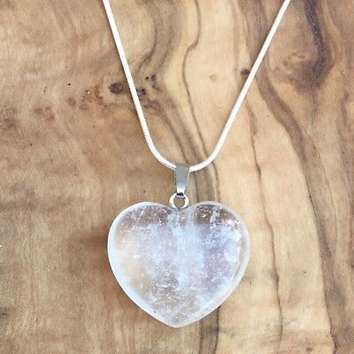 £5.95 • Buy Clear Quartz Crystal Heart Pendant 25mm With 20  Silver Necklace Focus Clarity