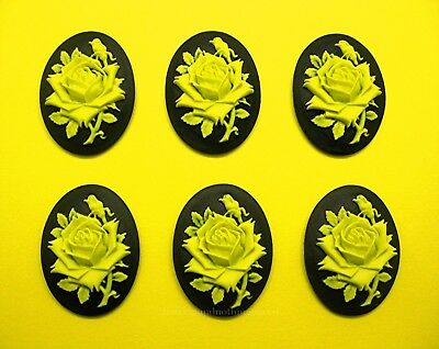 $4.99 • Buy 6 Unset BRIGHT YELLOW Color Rose On BLACK 40mm X 30mm Costume Jewelry CAMEOS
