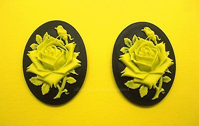 $2.05 • Buy 2 Unset BRIGHT YELLOW Color Rose On BLACK 40mm X 30mm Costume Jewelry CAMEOS