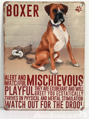 20cm Metal Vintage Style Boxer Lover Gift Breed Character Hanging Sign Plaque • 6.75£