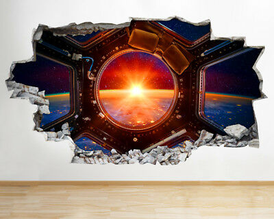 Wall Stickers Earth Spaceship Sunrise View Smashed Decal 3D Art Vinyl Room AA563 • 34.99£