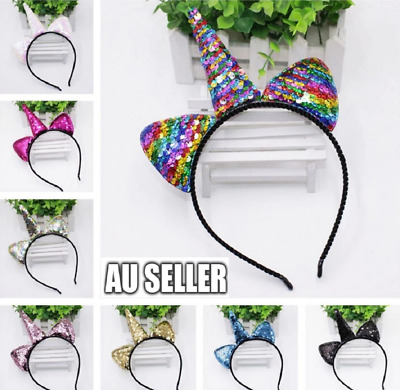 AU5.99 • Buy Unicorn Rainbow Sequins EARS HEADBAND COSTUME Bow Fancy Dress Unisex Party F