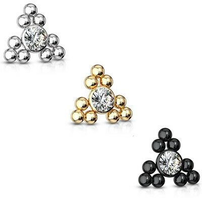 $7.95 • Buy Triangle Ball Cluster Dermal Anchor Top Piercing Jewelry (internally Threaded)