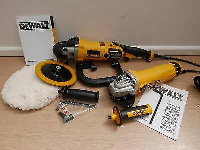 Dewalt Dwp849x Variable Speed Polisher + Dwe4206 115mm Angle Grinder 240v • 254.85£