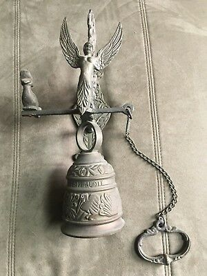 Victorian Ornate Brass Bell W Original Hanger Wall Mount Pull Chain • 150.83£