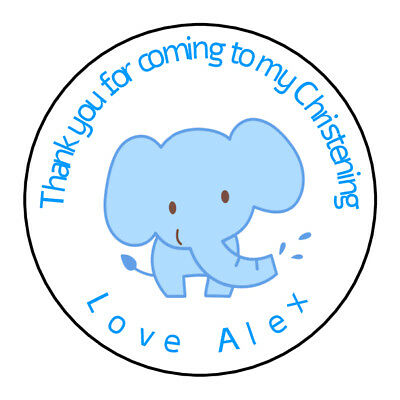 Personalised Boy Blue Elephant Christening Stickers Thank You Sweet Cones Gift • 1.99£