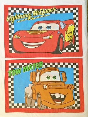 2 Disney Cars Lightning McQueen Tow Mater Pillowcases Double Sided • 10.31£
